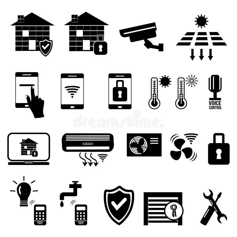 Iconos negros caseros elegantes del vector en el fondo blanco stock de ilustración