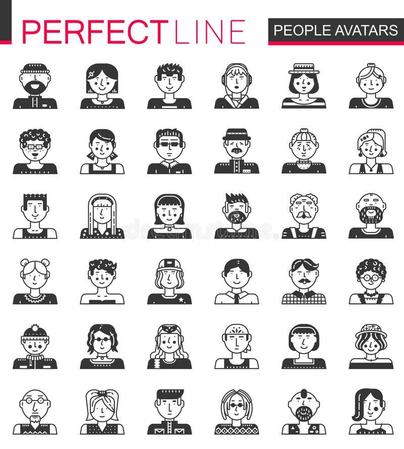 Iconos negros clásicos del concepto de los avatares de la gente del vector Hombres y cabezas de la mujer fijadas stock de ilustración