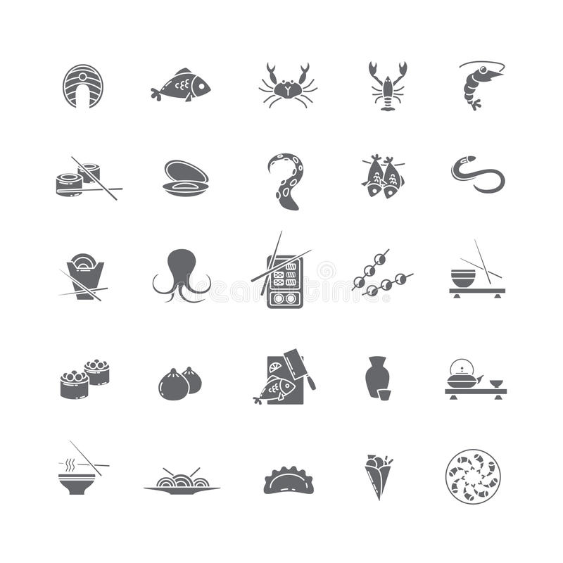 Iconos negros con los mariscos imagenes de archivo