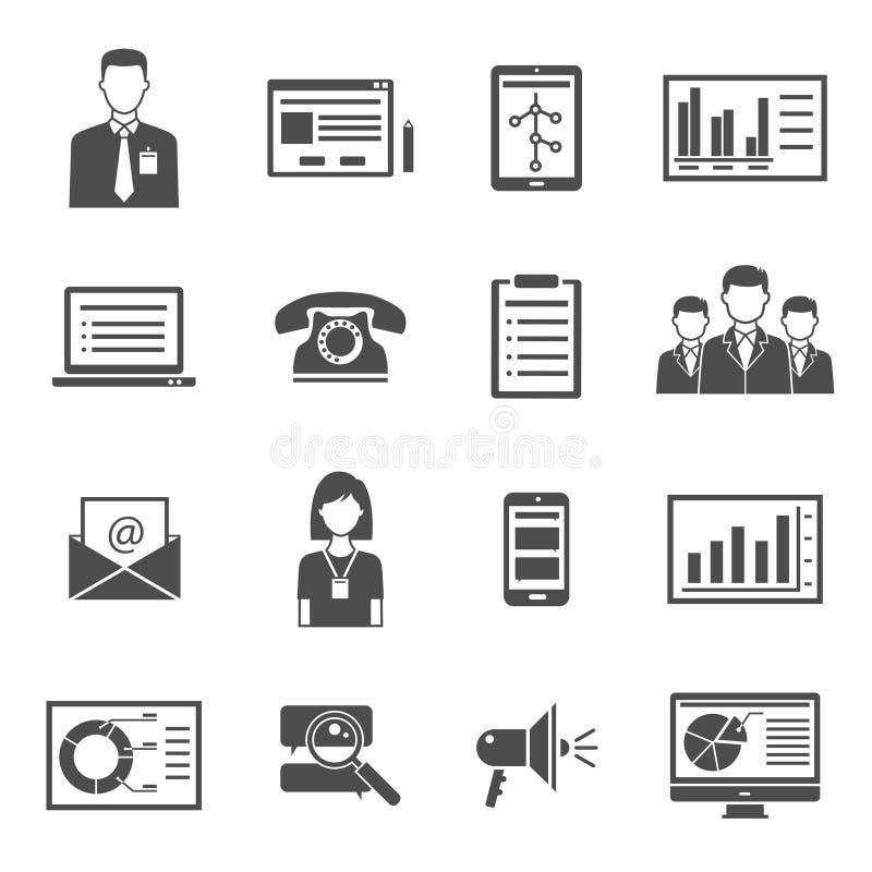 Iconos negros de comercialización stock de ilustración