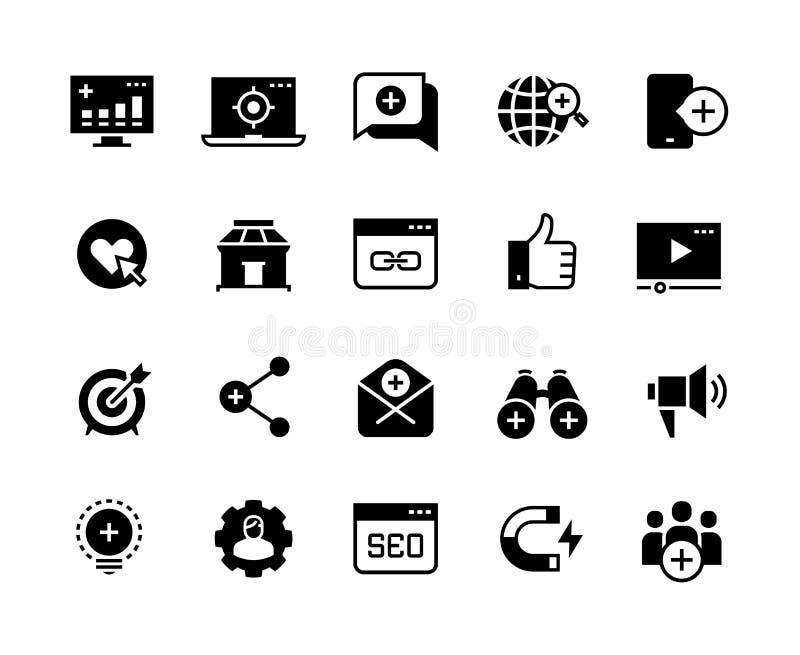Iconos negros de comercialización de entrada Medios sociales de la ventaja, campaña de anuncios, promoción del negocio del sitio  ilustración del vector