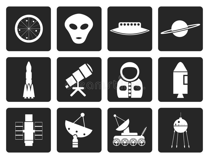 Iconos negros de la astronáutica y del espacio ilustración del vector