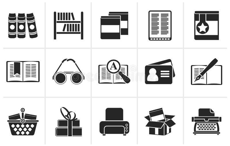Iconos negros de la biblioteca y de los libros libre illustration