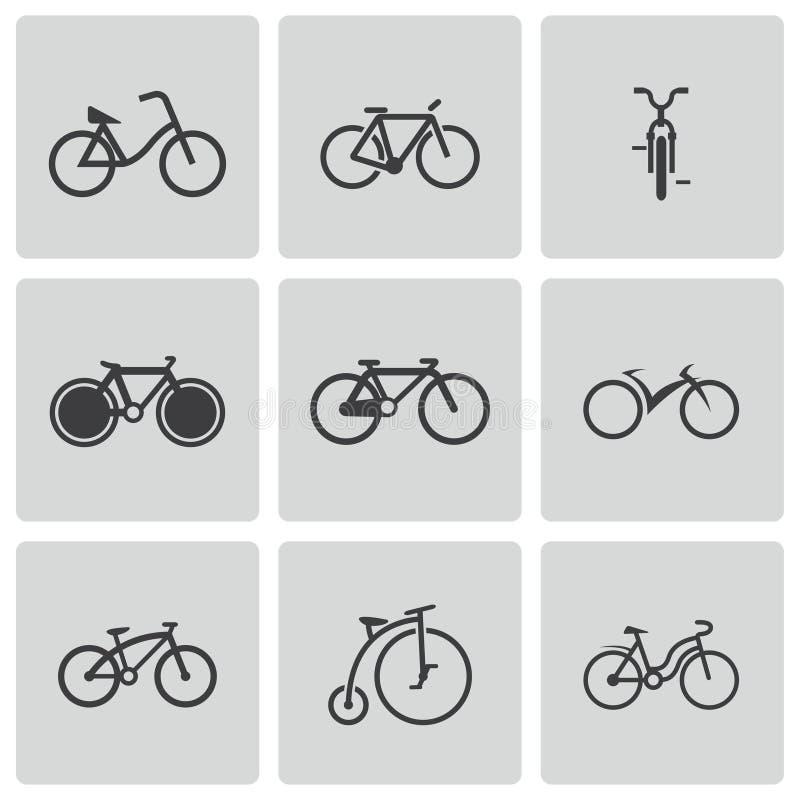 Iconos negros de la bicicleta del vector fijados stock de ilustración