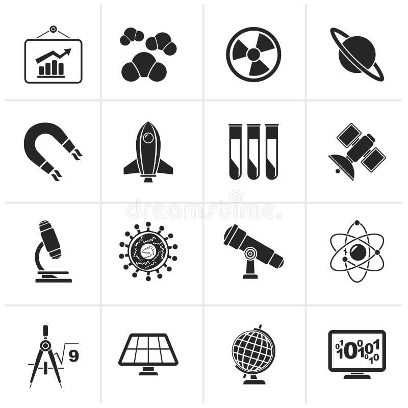 Iconos negros de la ciencia, de la investigación y de la educación stock de ilustración