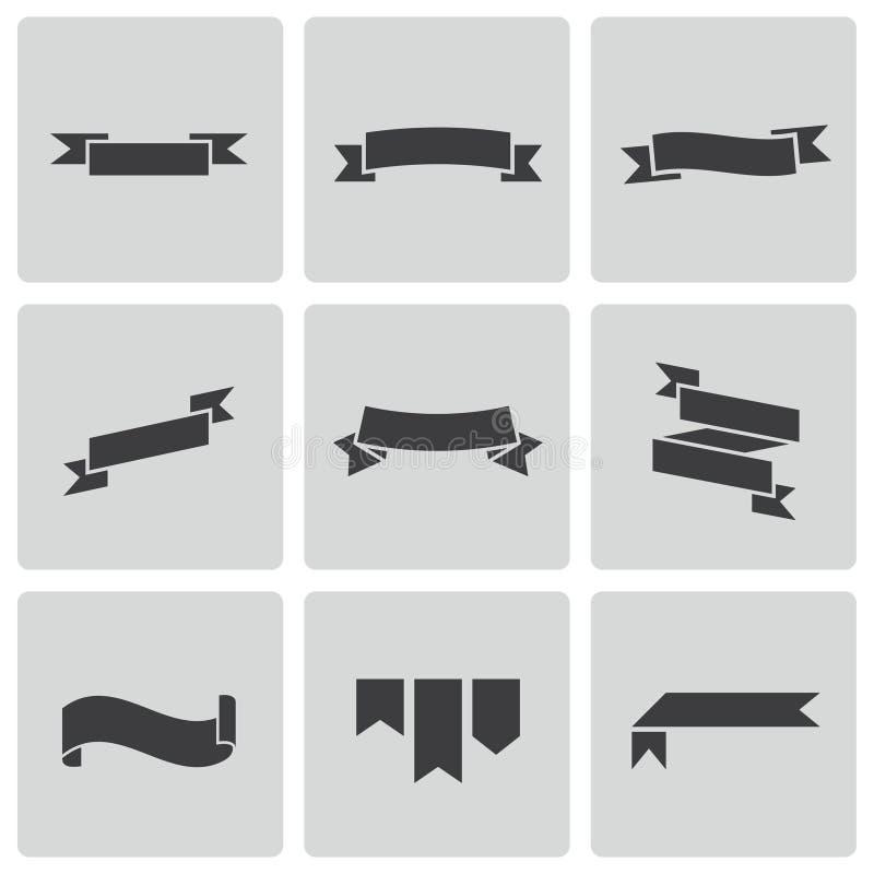Iconos negros de la cinta del vector fijados libre illustration