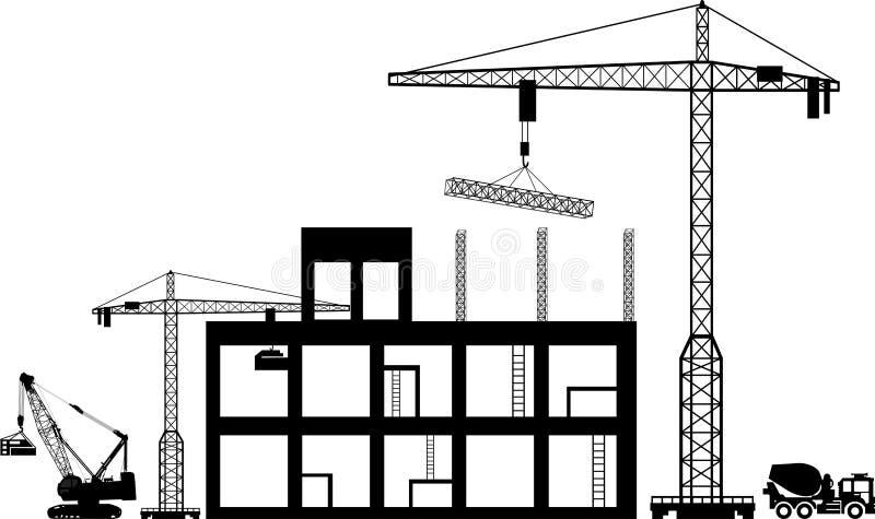 Iconos negros de la construcción del fondo fijados en gris stock de ilustración