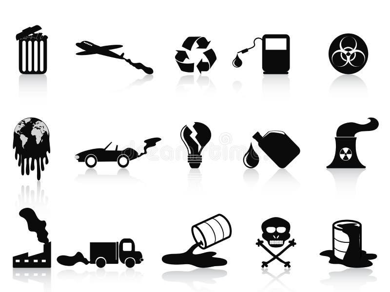 Iconos negros de la contaminación fijados ilustración del vector