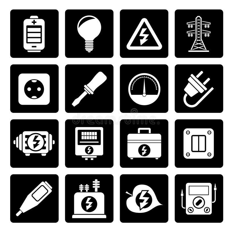 Iconos negros de la electricidad, del poder y de la energía stock de ilustración