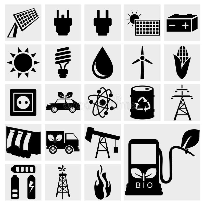 Iconos negros de la energía del eco del vector fijados stock de ilustración