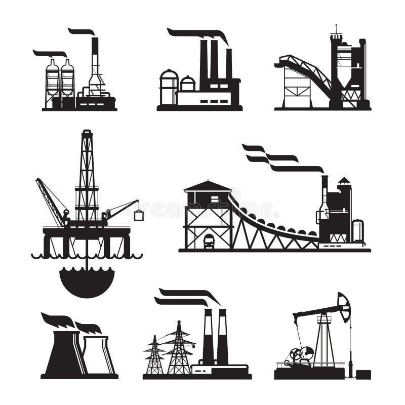 Iconos negros de la fábrica del vector fijados en gris stock de ilustración