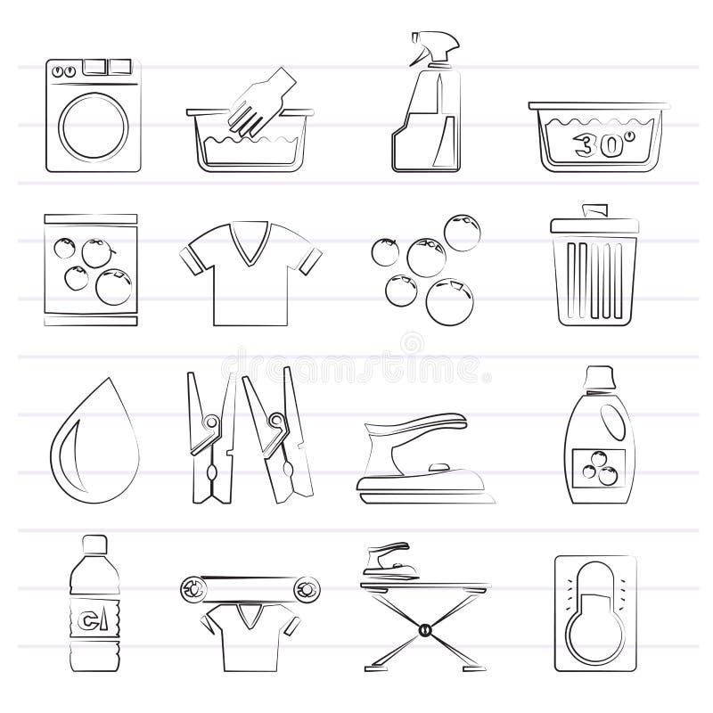 Iconos negros de la lavadora y del lavadero libre illustration
