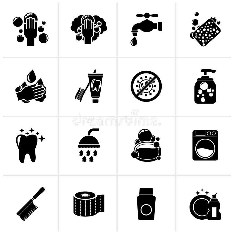 Iconos negros de la limpieza y de la higiene stock de ilustración