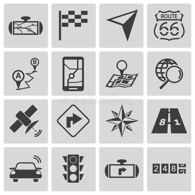 Iconos negros de la navegación del vector stock de ilustración