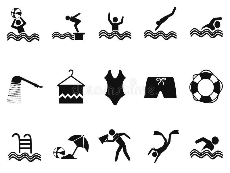 Iconos negros de la piscina de agua fijados libre illustration