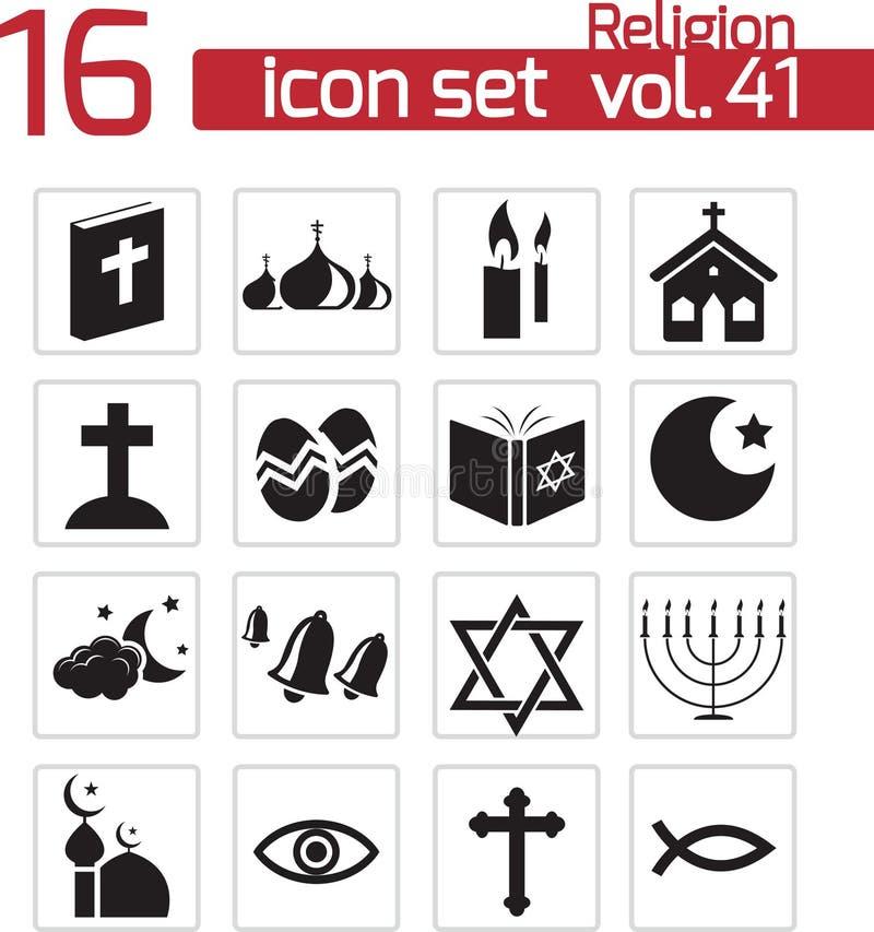Iconos negros de la religión del vector stock de ilustración