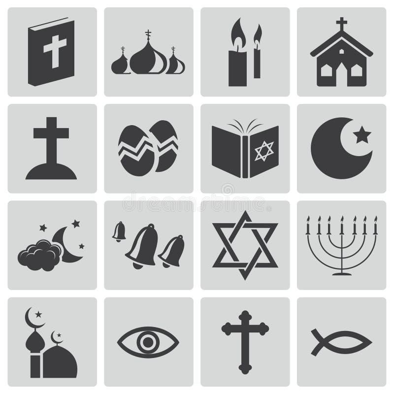 Iconos negros de la religión del vector libre illustration