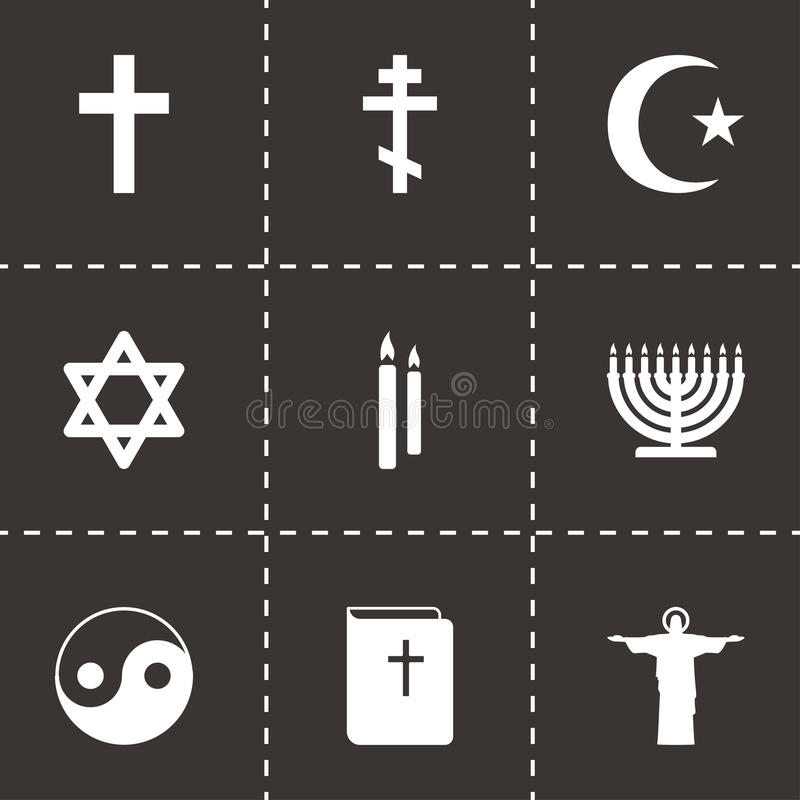Iconos negros de la religión del vector fijados stock de ilustración