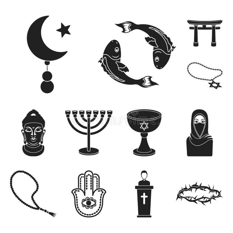 Iconos negros de la religión y de la creencia en la colección del sistema para el diseño Accesorios, ejemplo del web de la acción libre illustration