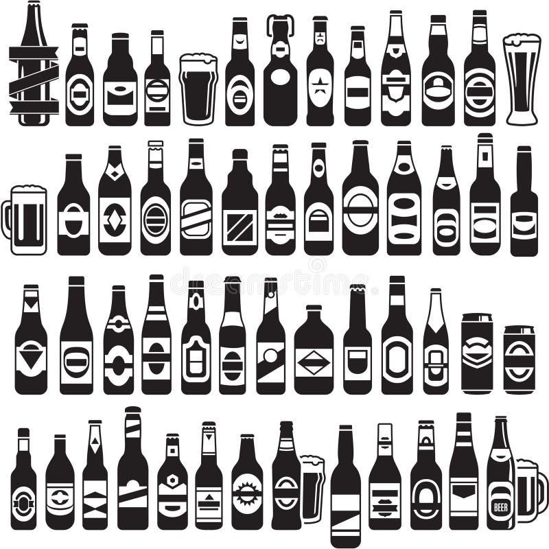 Iconos negros de las botellas de cerveza del vector fijados stock de ilustración