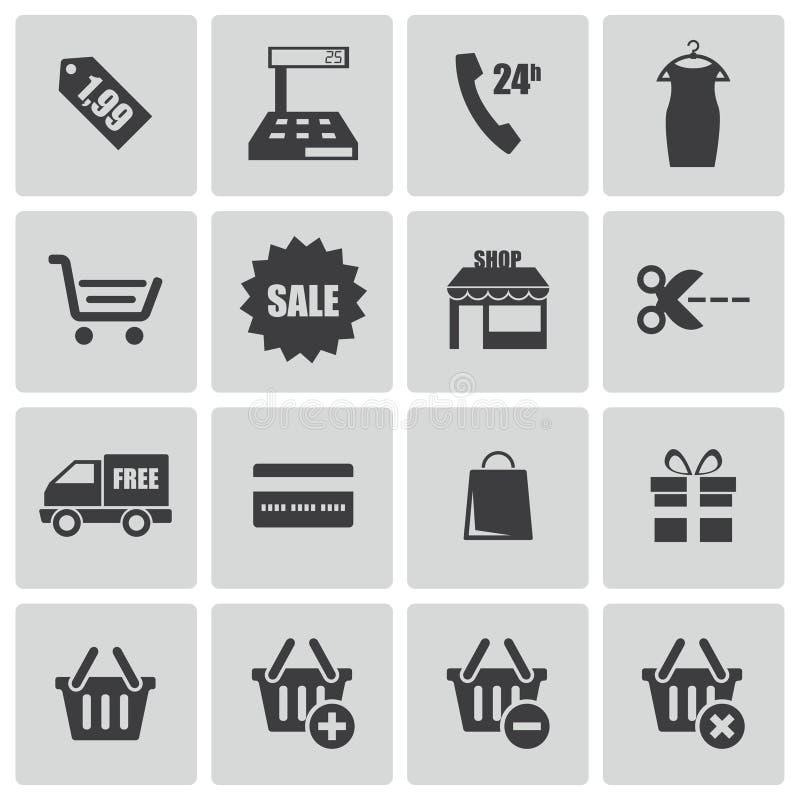 Iconos negros de las compras del vector fijados ilustración del vector