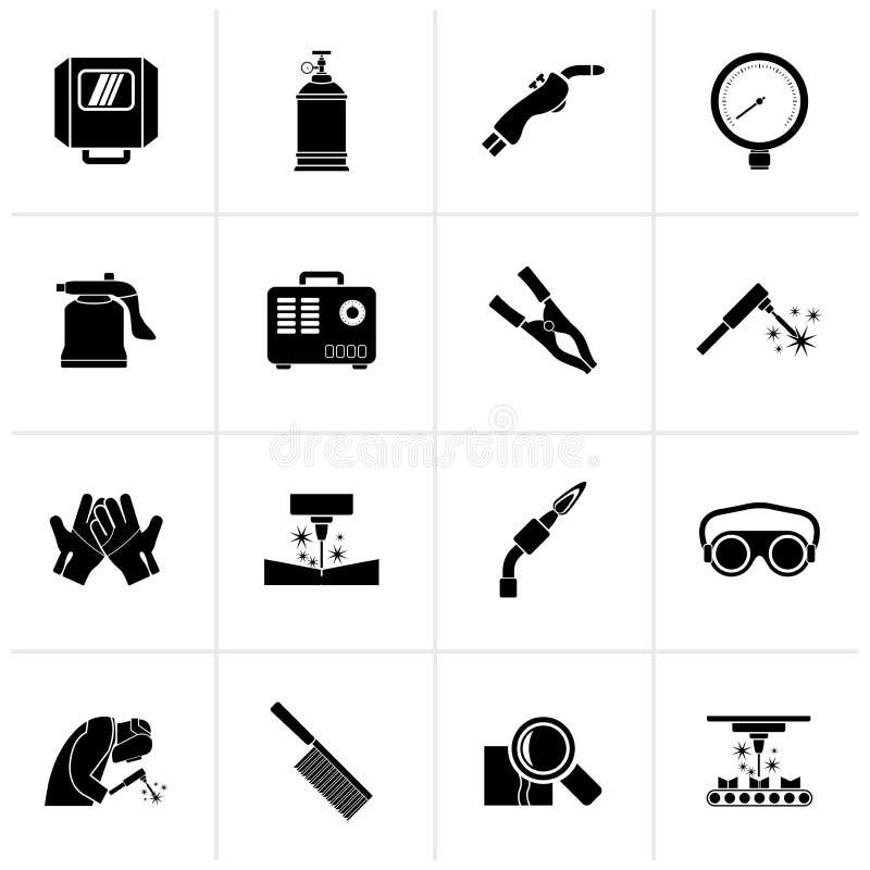 Iconos negros de las herramientas de la soldadura y de la construcción stock de ilustración