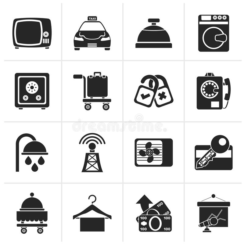 Iconos negros de las instalaciones del cuarto de motel del hotel y ilustración del vector
