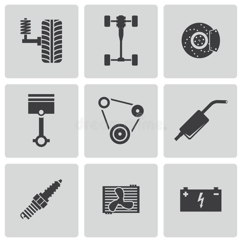 Iconos negros de las piezas del coche del vector fijados stock de ilustración