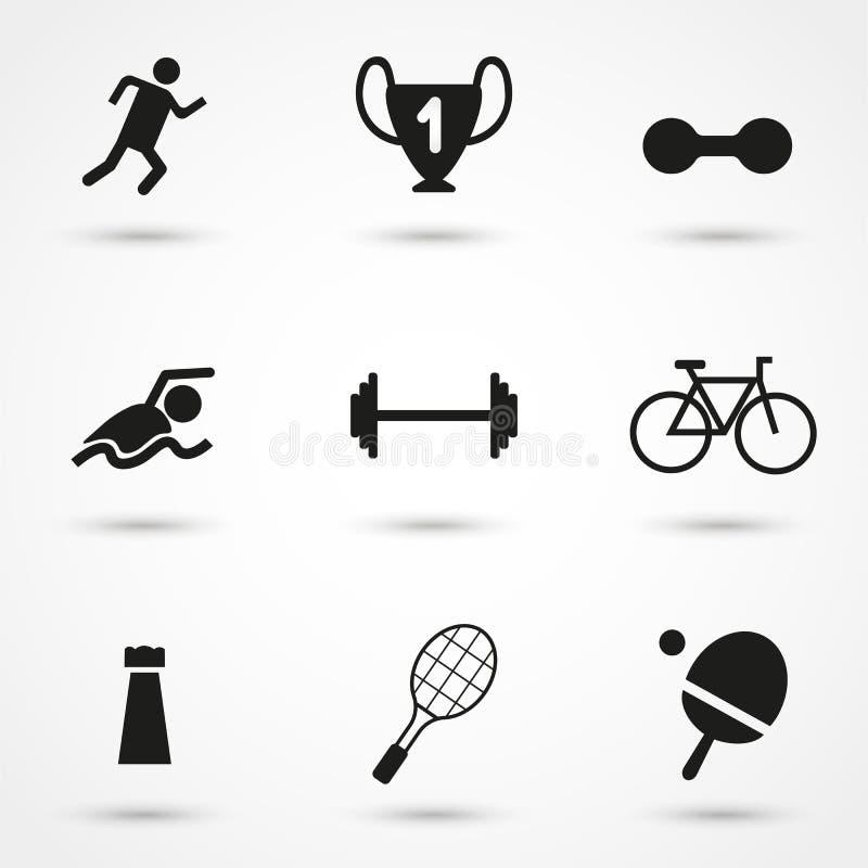 Iconos negros de los deportes del vector fijados en gris imagen de archivo