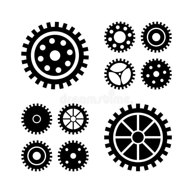 Iconos negros de los engranajes del vector fijados Engranaje de la máquina de la colección ilustración del vector