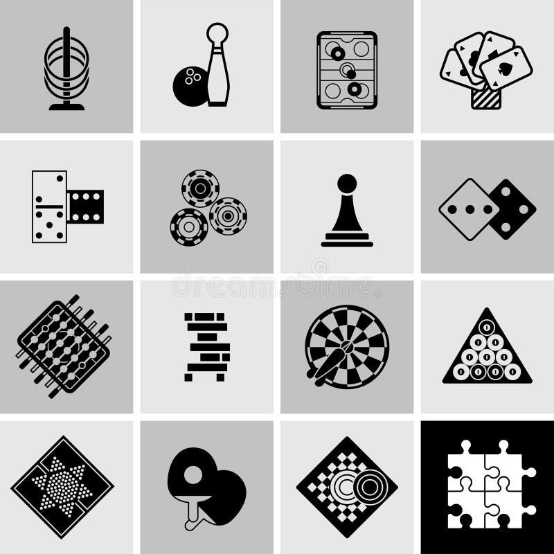 Iconos negros de los juegos fijados stock de ilustración