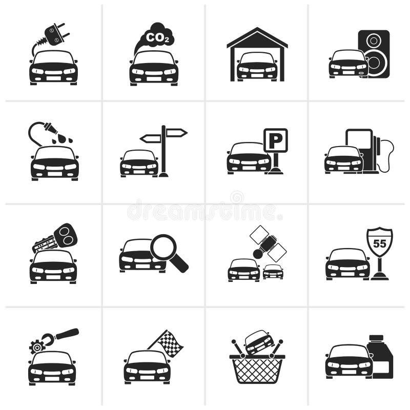 Iconos negros de los servicios del coche y del camino libre illustration