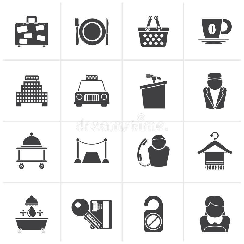 Iconos negros de los servicios del hotel y del motel libre illustration