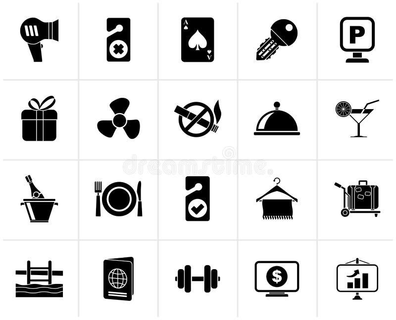 Iconos negros 2 de los servicios del hotel y del motel ilustración del vector