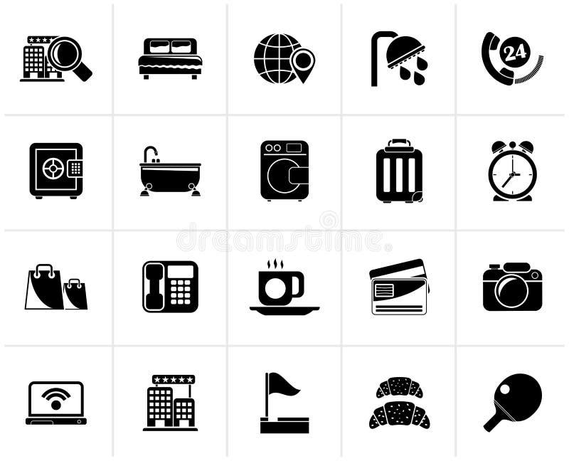 Iconos negros 1 de los servicios del hotel y del motel stock de ilustración
