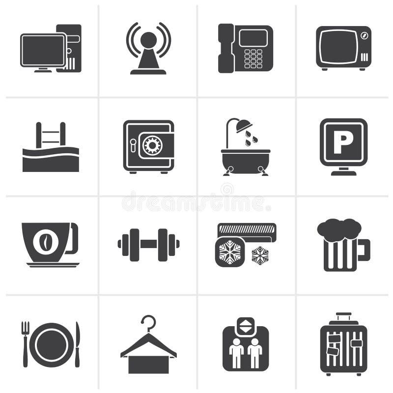 Iconos negros de los servicios de las amenidades del hotel ilustración del vector