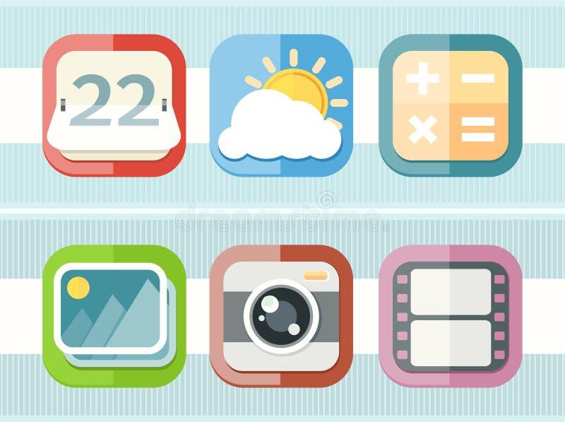 Iconos negros de los usos del teléfono móvil fijados libre illustration