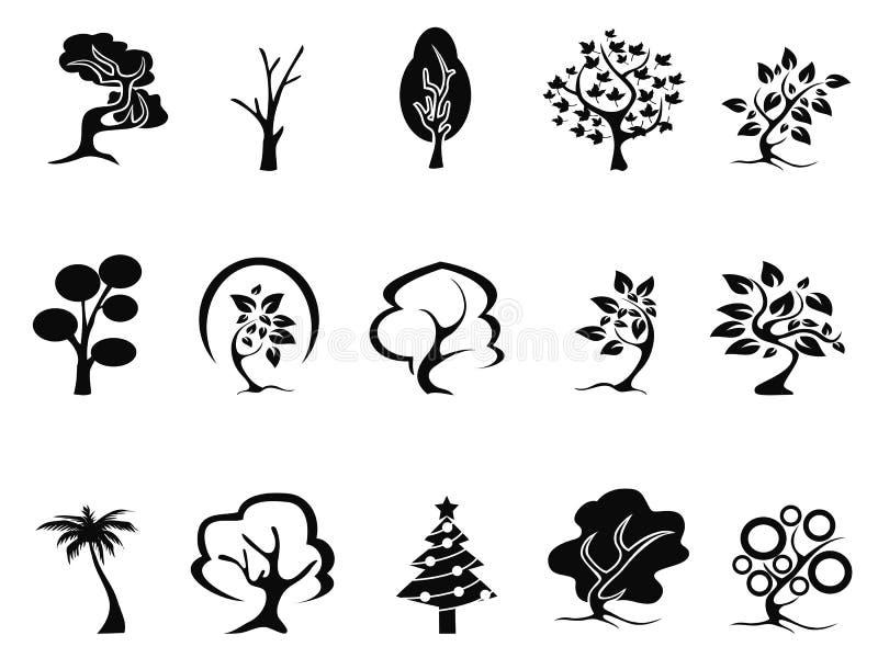 Iconos negros del árbol fijados libre illustration