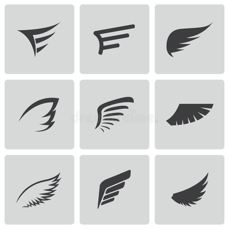 Iconos negros del ala del vector fijados stock de ilustración