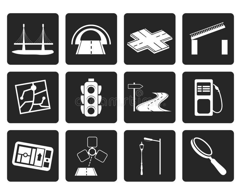 Iconos negros del camino, de la navegación y del viaje libre illustration