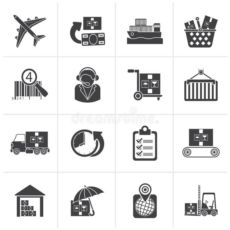 Iconos negros del cargo, logísticos y del envío ilustración del vector