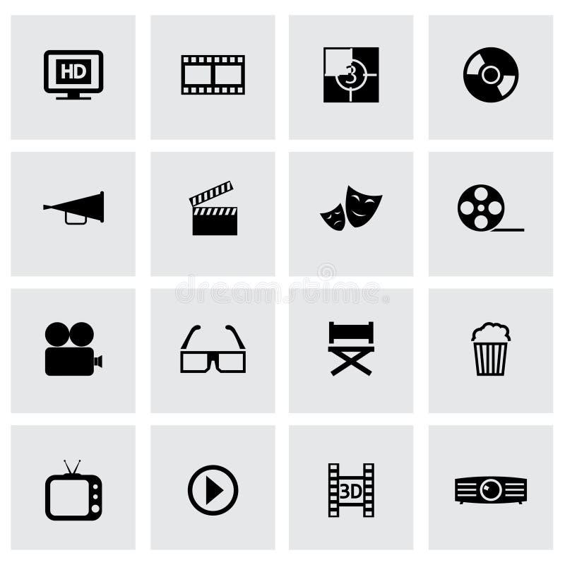 Iconos negros del cine del vector fijados libre illustration