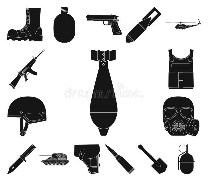Iconos negros del ejército y del armamento en la colección del sistema para el diseño Las armas y el equipo vector el ejemplo com stock de ilustración