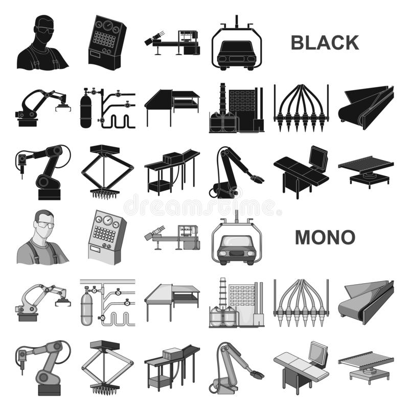 Iconos negros del equipo y de la máquina en la colección del sistema para el diseño Progreso técnico del web de la acción del sím libre illustration