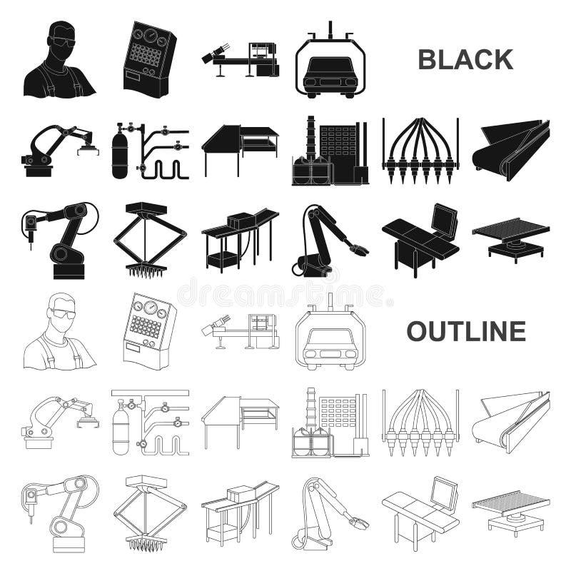 Iconos negros del equipo y de la máquina en la colección del sistema para el diseño Progreso técnico del web de la acción del sím stock de ilustración