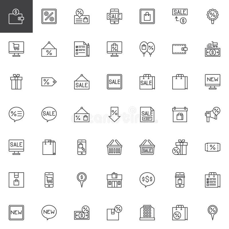 Iconos negros del esquema de viernes fijados ilustración del vector