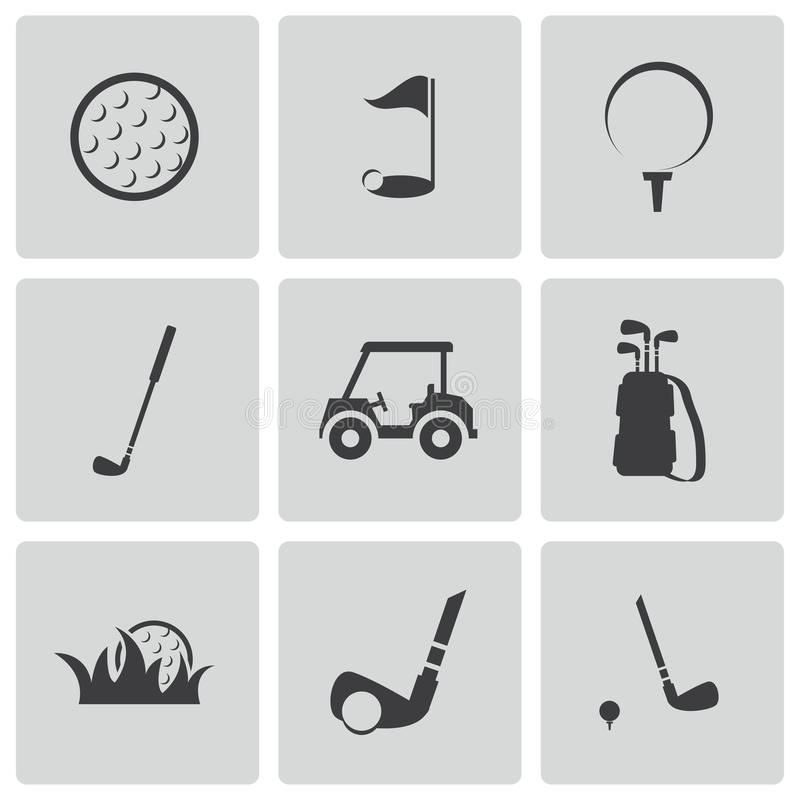 Iconos negros del golf del vector fijados stock de ilustración
