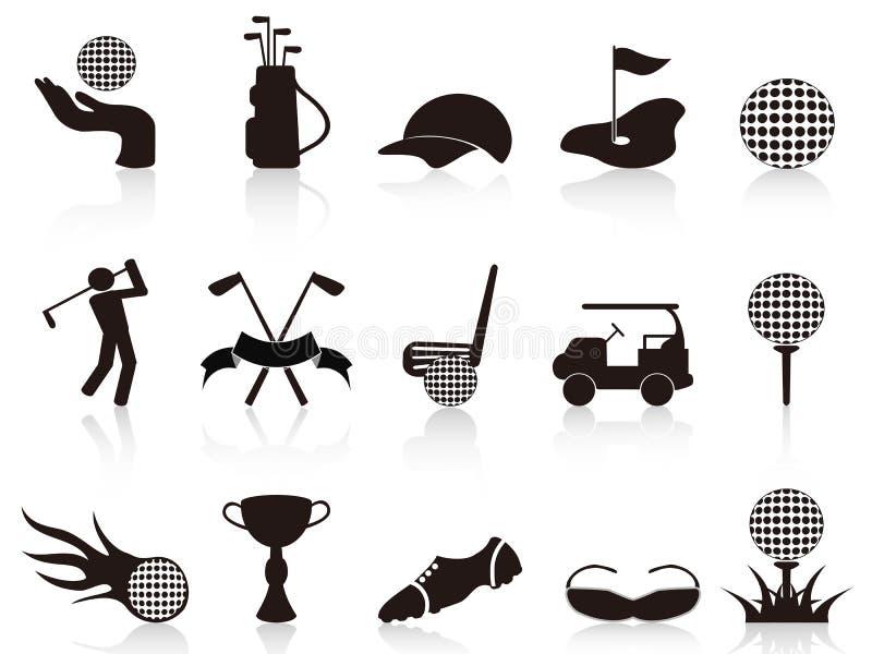 Iconos negros del golf fijados libre illustration