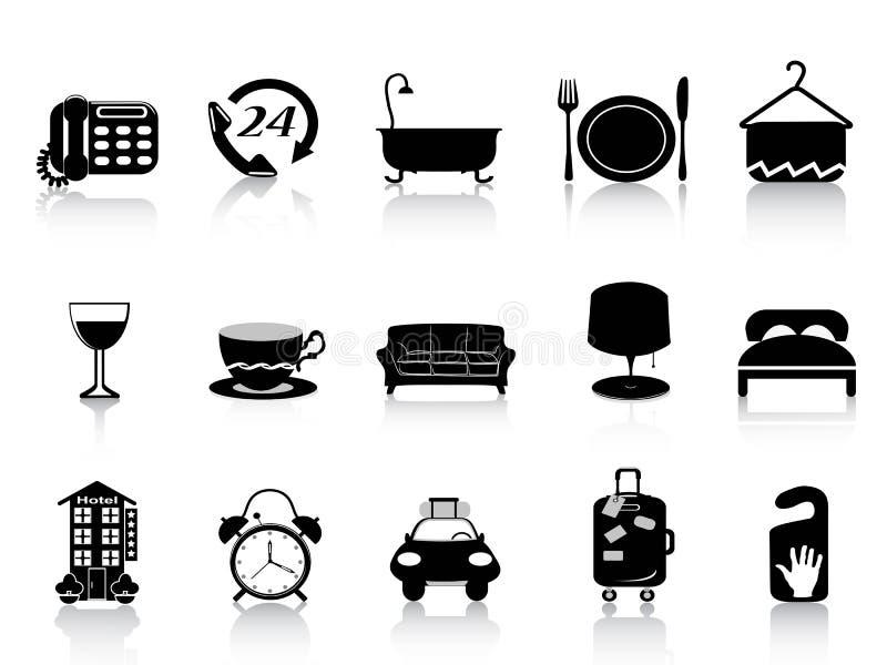 Iconos negros del hotel stock de ilustración