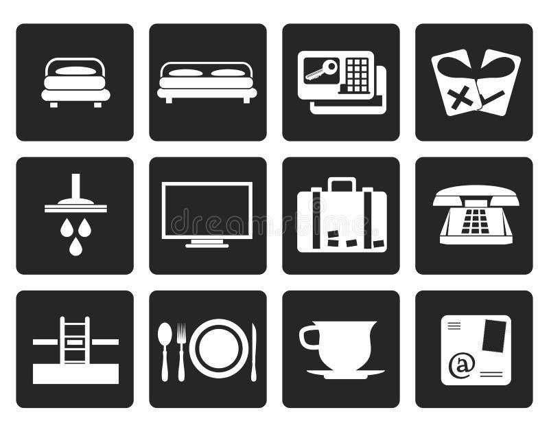 Iconos negros del hotel y del motel stock de ilustración